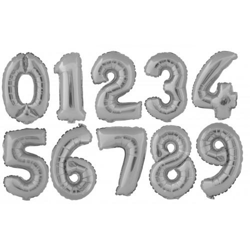 Фолиев балон цифра с височина 40 см и сребърен цвят модел 54032