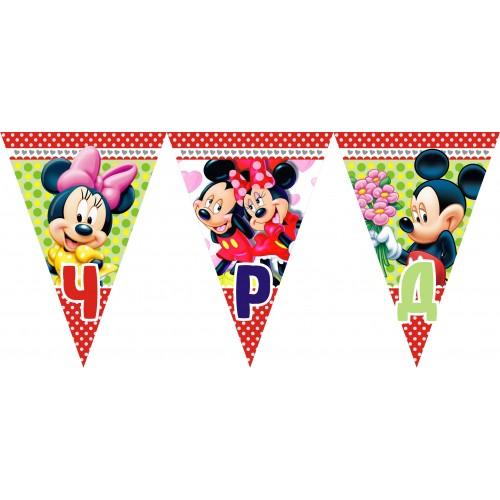 Персонален банер от флагчета Честит Рожден Ден с името на детето  модел 50030 с Мики и Мини Маус