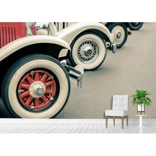 Фототапет автомобилни ретро гуми цифров печат максимален размер 200х300см модел 28063