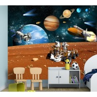 Фототапет Лунна станция планети космически кораб цифров печат максимален размер 250х300см модел 28351