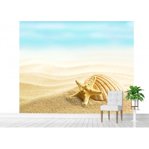 Фототапет морска звезда мида и плаж цифров печат максимален размер 250х300см модел 28151