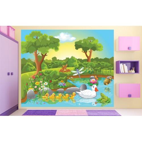 Фототапет за детска стая Патета и Мама в езерото цифров печат максимален размер 250х300см модел 28009