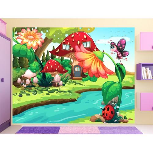 Фототапет за детска стая Калинката и Пеперудката  цифров печат максимален размер 250х300см модел 28010