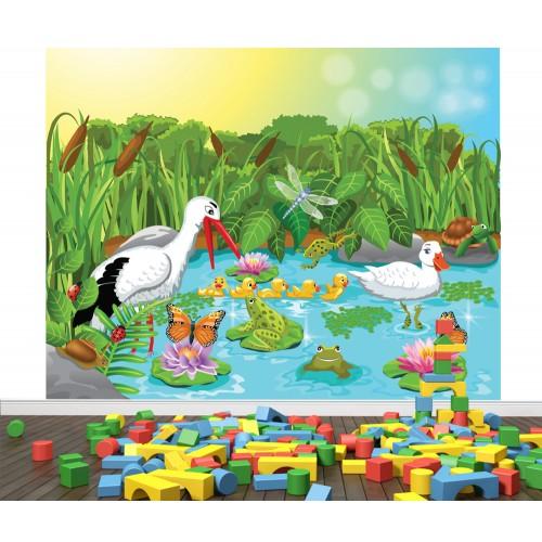 Фототапет за детска стая Щъркел в езерото цифров печат максимален размер 250х300см модел 28017