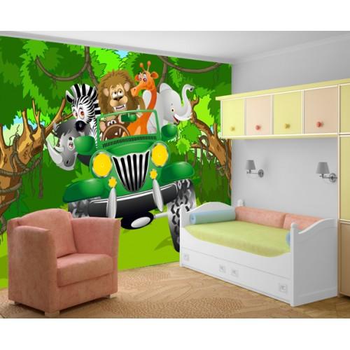 Фототапет за детска стая Джунгла сафари с Джип цифров печат максимален размер 260х400см модел 28020