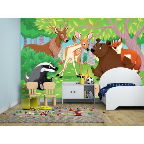 Фототапет за детска стая горската поляна с мечо цифров печат максимален размер 260х400см модел 28021