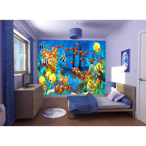 Фототапет за детска стая подводен СВЯТ с  потънал кораб цифров печат максимален размер 260х400см модел 28025