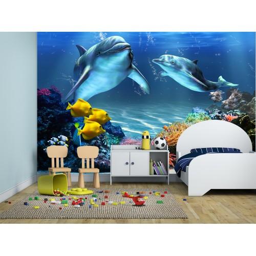 Фототапет за детска стая подводен свят делфини корали цифров печат максимален размер 260х400см модел 28026