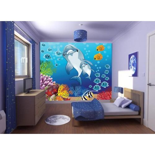 Фототапет за детска стая Подводен свят мама с делфинче цифров печат максимален размер 250х300см модел 28029