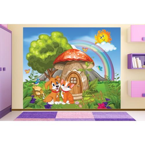 Фототапет за детска стая Гъбка къщичка с Шаро и Писана цифров печат максимален размер 250х300см модел 28030