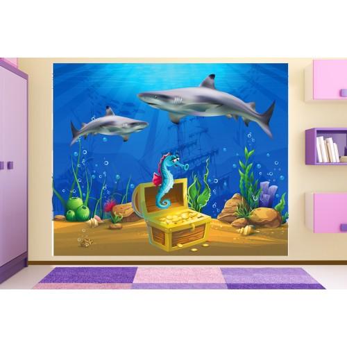 Фототапет за детска стая с акули и пиратско съкровище цифров печат максимален размер 250х300см модел 28044