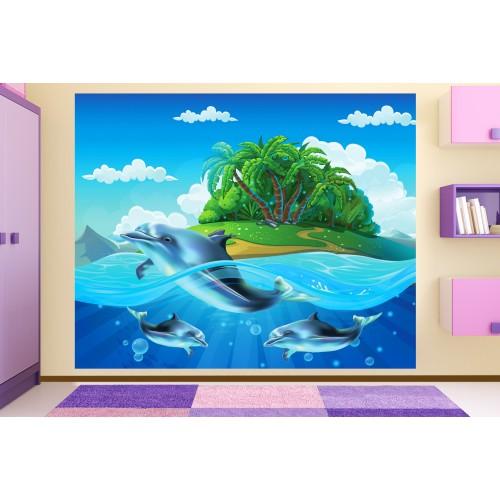 Фототапет за детска стая делфини остров цифров печат максимален размер 250х300см модел 28047
