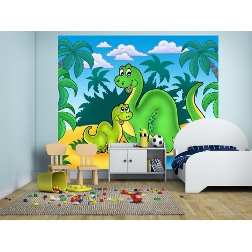 Фототапет за детска стая Дино и мама цифров печат максимален размер 250х300см модел 28048