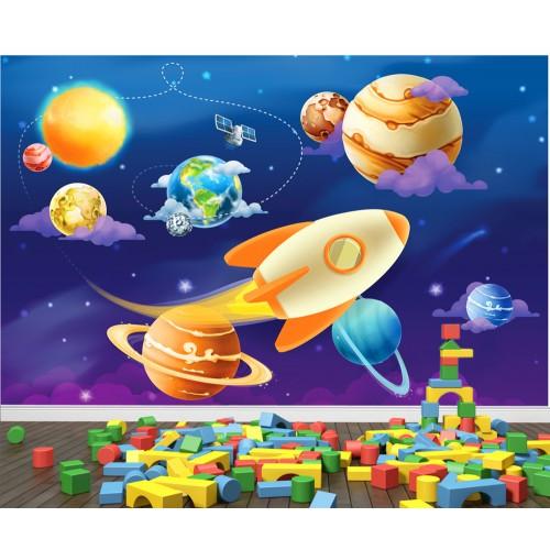 Фототапет за детска стая слънчева система планети ракети цифров печат максимален размер 260х400см модел 28096