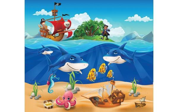 Фототапет модел 28136 пирати пиратски кораб съкровище акули