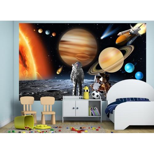 Фототапет космос слънчева система астронавт на луната совалка цифров печат максимален размер 260х400см модел 28139
