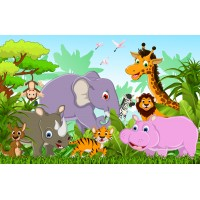 Фототапет джунгла със слон, носорог, хипопотам, жираф, лъв, тигър цифров печат флис основа максимален размер 260х400см модел 28298