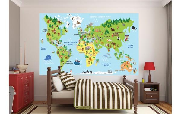 Фототапет карта на света с животни  модел 28504