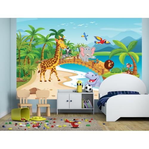 Фототапет за детска стая Пикник на животните в АФРИКА цифров печат максимален размер 260х400см модел 28599