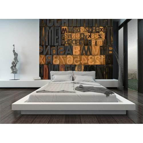 Фототапет букви дърворезба цифров печат максимален размер 250х300см модел 28097