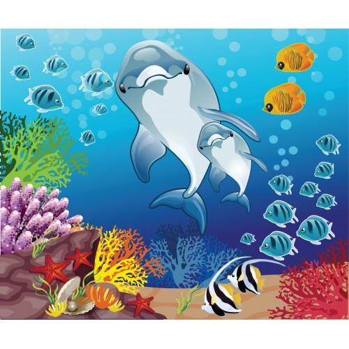 Фототапет модел 28029 подводен свят с делфини