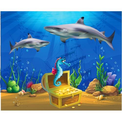 Фототапет модел 28044 подводен свят с акули