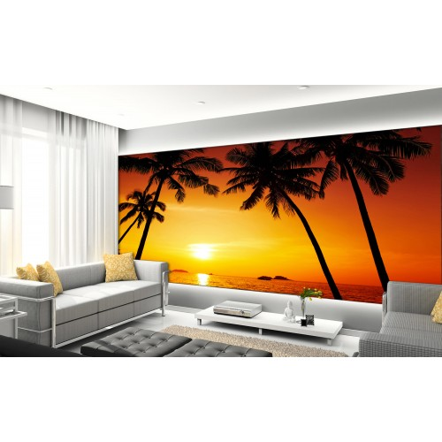 Фототапет модел 28259 плаж палми залез
