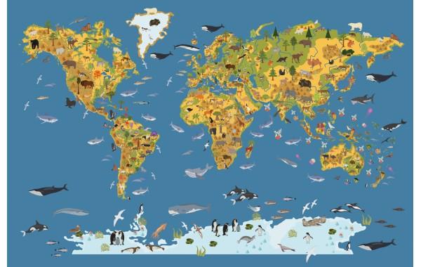 Фототапет модел 28500 карта с животните по света