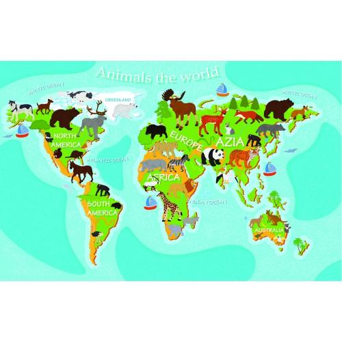 Фототапет модел 28502 карта с животните по света