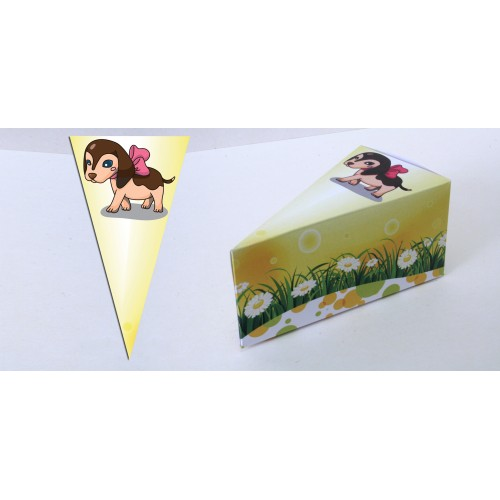 Парченце от Хартиена торта с украса Любими Животни кученце по избор Модел 30141