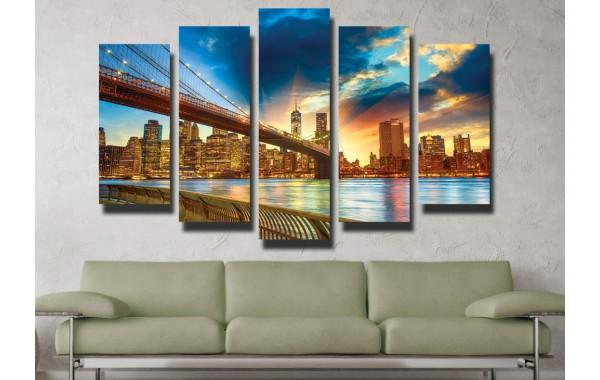 Декоративни панели пет части или картини от канава Модел 13 001 Нощен Град