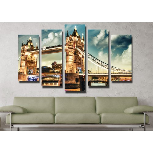 Декоративни панели 5 части или картини от канава Модел 13 002 Нощен Град