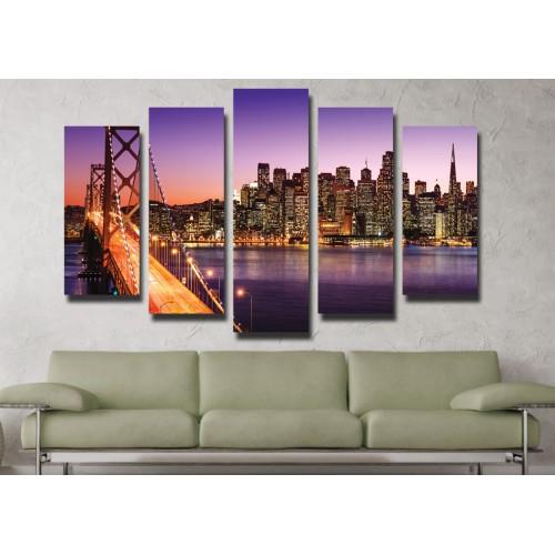 Декоративни панели 5 части или картини от канава Модел  13 004 Нощен Град