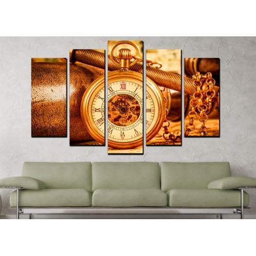 Декоративни панели 5 части или картини от канава Модел  13 005 Ретро Часовник
