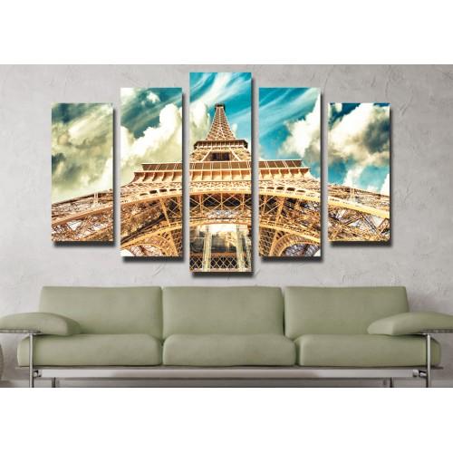 Декоративни панели 5 части или картини от канава Модел  13 006 Айфелова кула