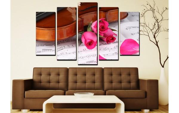 Декоративни панели 5 части или картини от канава Модел 13 008 Ноти