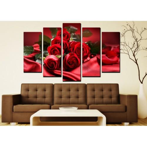 Декоративни панели 5 части или картини от канава Модел 13 009 рози