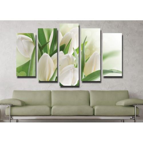 Декоративни панели 5 части или картини от канава Модел 13 013 бели лалета