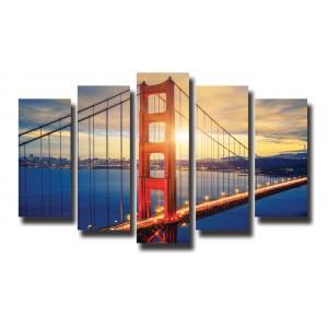 Декоративни панели 5 части или картини от канава Модел 13 014 Мост