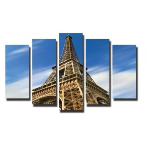 Декоративни панели 5 части или картини от канава Модел 13 015 Айфелова кула