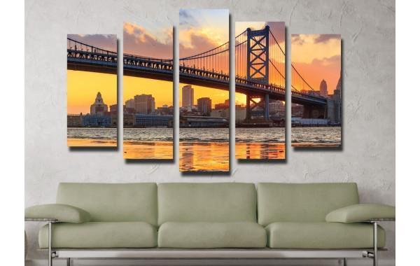 Декоративни панели и картини от канава Модел 13 021 Мост пет части