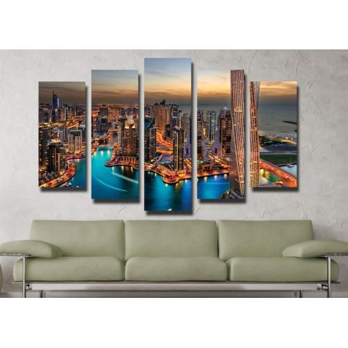Декоративни панели и картини от канава Модел 13 027 нощен град пет части