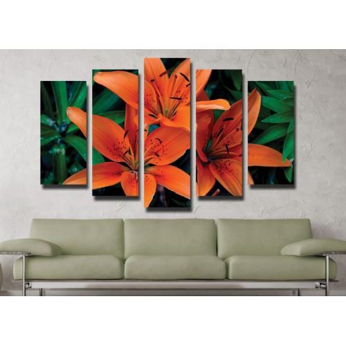 Декоративни панели и картини от канава Модел 13 038 цвете пет части