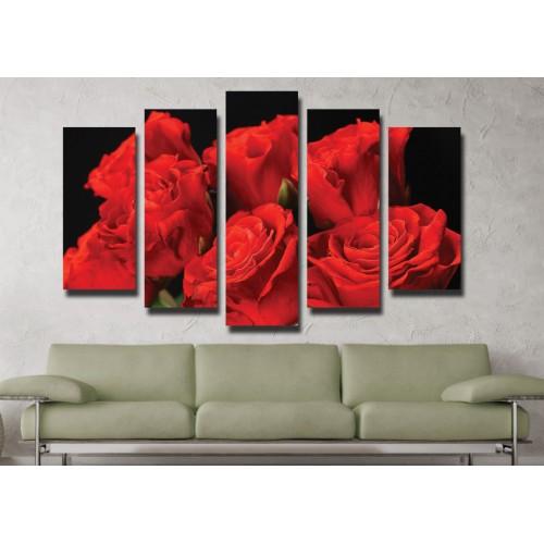Декоративни панели и картини от канава Модел 13 041 рози пет части