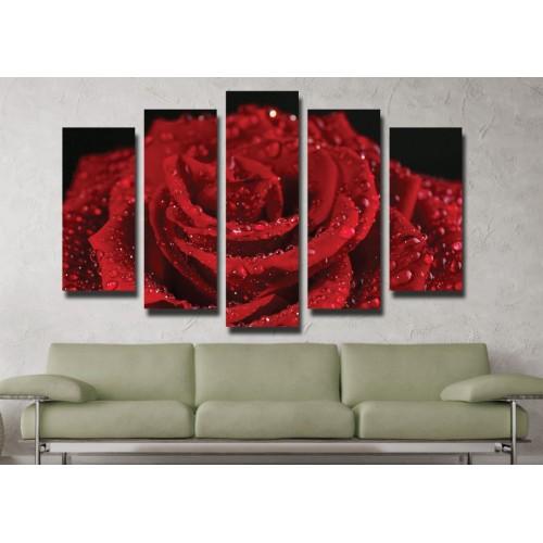 Декоративни панели и картини от канава Модел 13 042 рози пет части