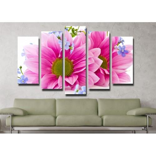 Декоративни панели и картини от канава Модел 13 044 цвете пет части