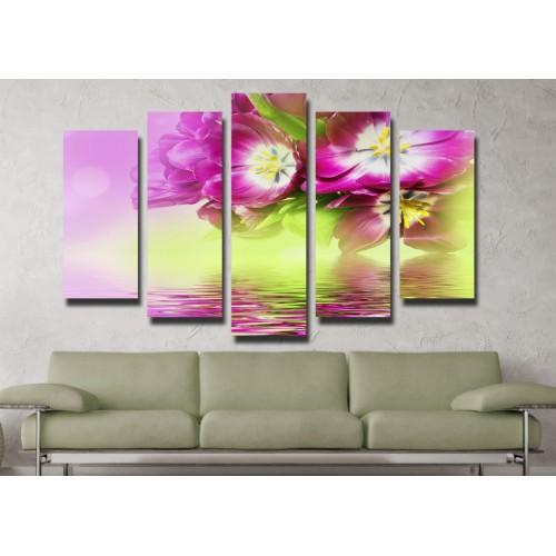 Декоративни панели и картини от канава Модел 13 047 цвете пет части