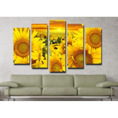 Декоративни панели и картини от канава Модел 13 052 слънчогледи пет части