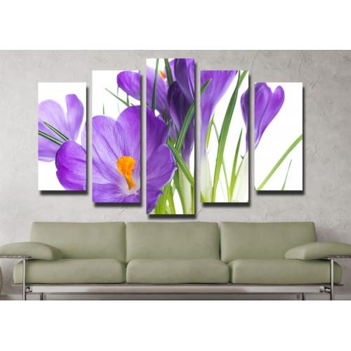 Декоративни панели и картини от канава Модел 13 058 цвете пет части