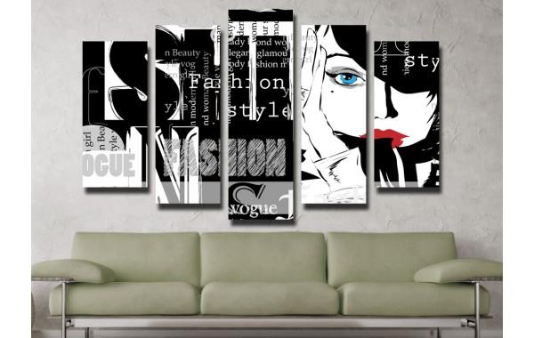 Декоративни панели и картини от канава Модел 13 059 мода пет части